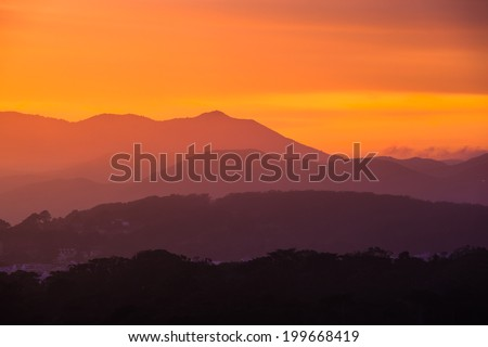 Colorful sunset over San Francisco - stock photo