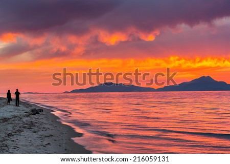 Colorful sunset over sea in Greece - stock photo