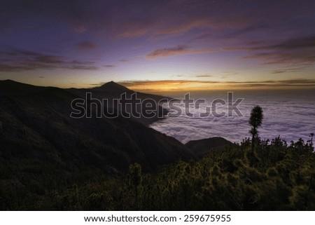 Colorful sunset over Teide, Tenerife, Canary islands - stock photo