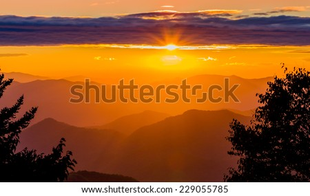 Colorful sunset over the Appalachian mountains - stock photo