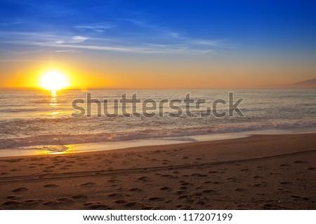 Colorful sunset over the sea -Spain, Almeria - stock photo