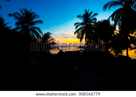 Colorful sunset over the sea, View from mountain - stock photo