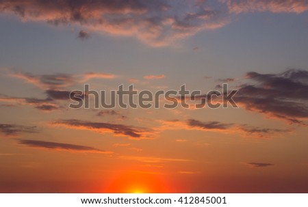 Colorful sunset sky at late evening