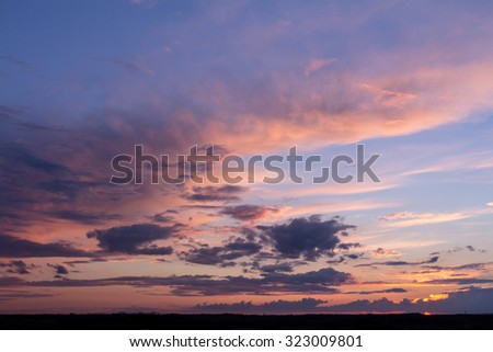 Colorful sunset with clouds
