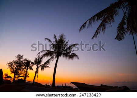 Colorful sunset with palm tree silhouettes and boats, Indonesia - stock photo