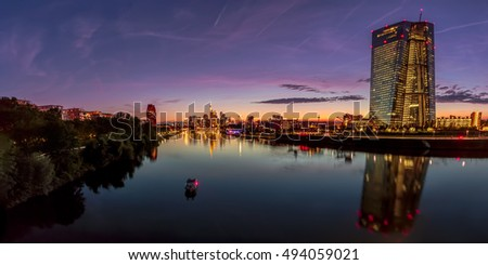 Colorful sunset with view to the skyscrapers of Frankfurt, Germany
