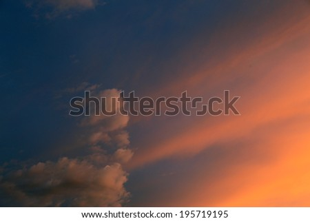 Colorful surreal sunset cloudscape. - stock photo