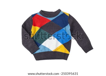 colorful sweater for children, isolated on white - stock photo