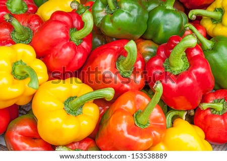 Colorful sweet bell peppers, natural background.  - stock photo