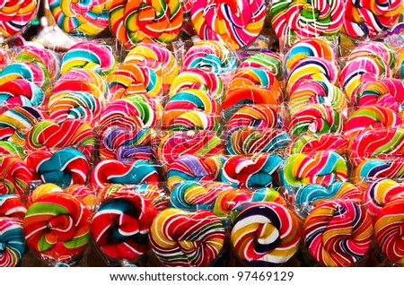 Colorful sweet lollipop - stock photo