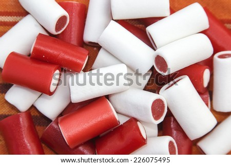 Colorful sweet red and white - stock photo
