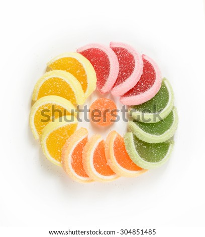 colorful sweeties on white background - stock photo