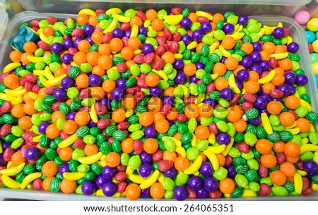 colorful sweets candy fruits in a expositor box to selling - stock photo