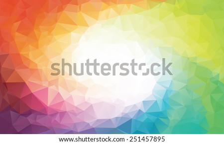Colorful swirl rainbow polygon background or frame - stock photo
