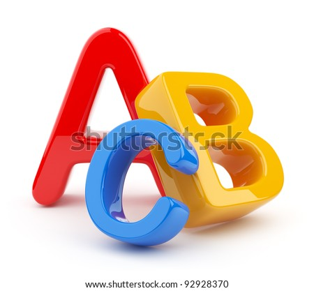 Colorful symbols heap  of alphabet. Icon  3D.  Education concept. Isolated on white - stock photo
