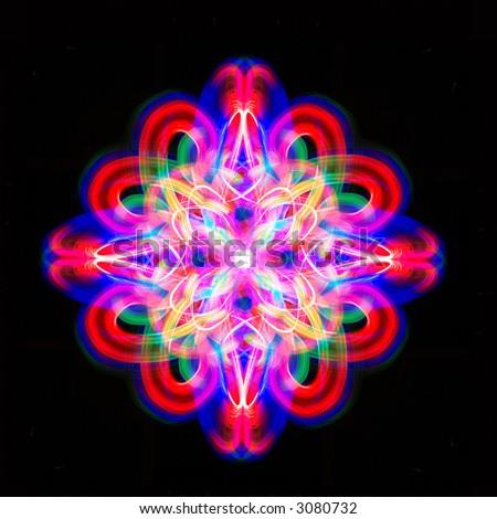Colorful symmetric ornament - stock photo