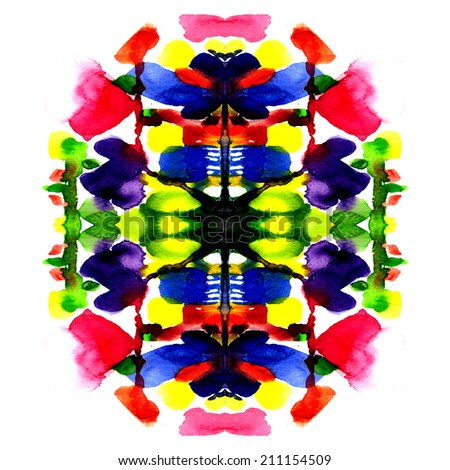 colorful symmetric watercolor painting - stock photo