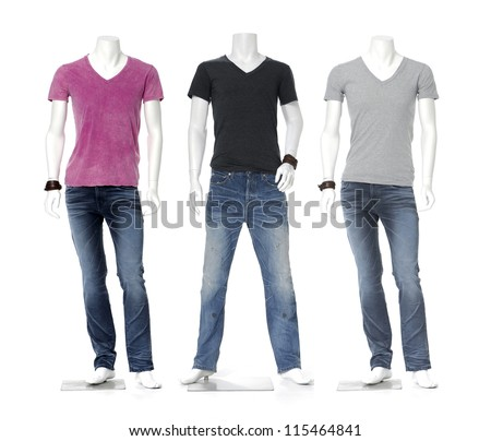 colorful t-shirt in jeans on three male mannequin - stock photo