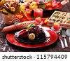 Colorful table decorated for Thanksgiving - stock photo