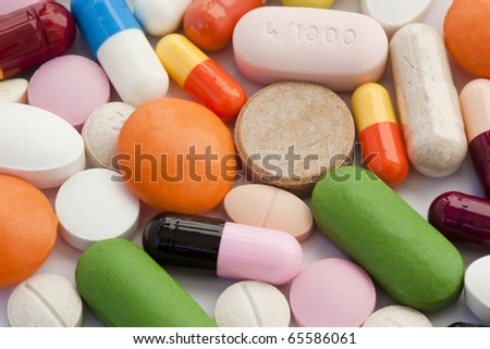 colorful tablets of various kind - stock photo