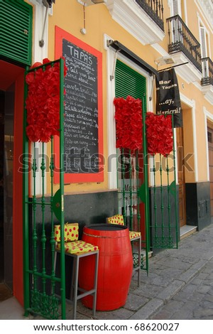 Colorful Tapas bar in Spain - stock photo