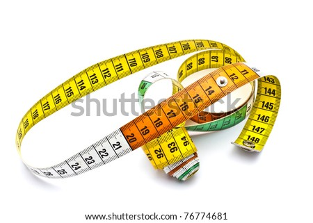 Colorful tape measure isolated on white background