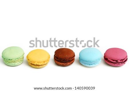 colorful tasty macaron isolated on white background - stock photo