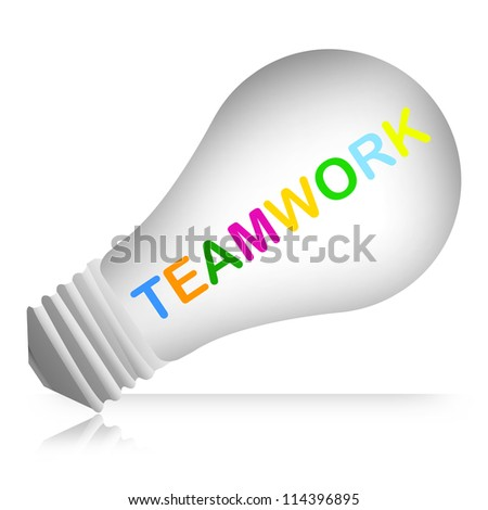 Colorful Teamwork Text Inside The Light Bulb For Business Concept Isolated on White Background
