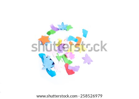 Colorful tear paper on white background. - stock photo