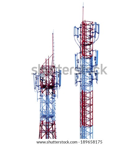 colorful telecommunications tower with different antenna isolated on white - stock photo