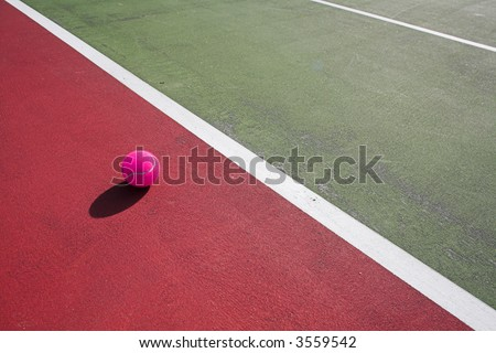 colorful tennis court close up at day time - stock photo