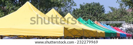 colorful tents in a row