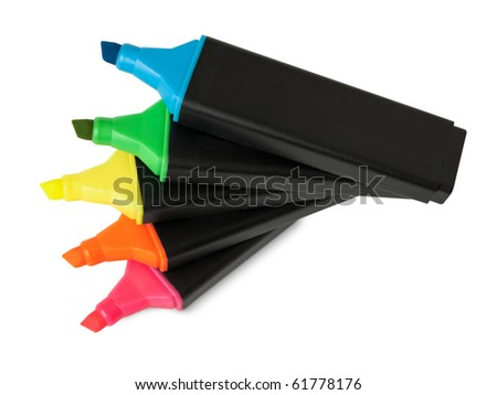 Colorful text highlighter pens - stock photo
