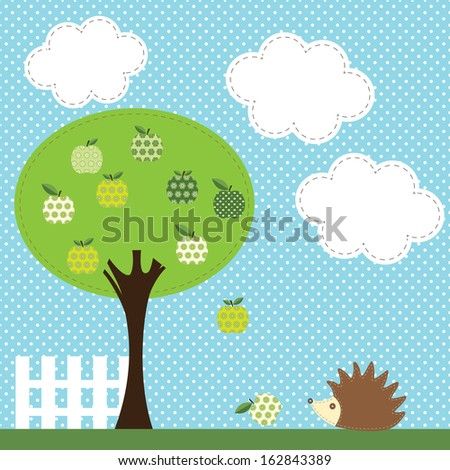 Colorful textile applique with apple tree and little hedgehog. Raster version. - stock photo