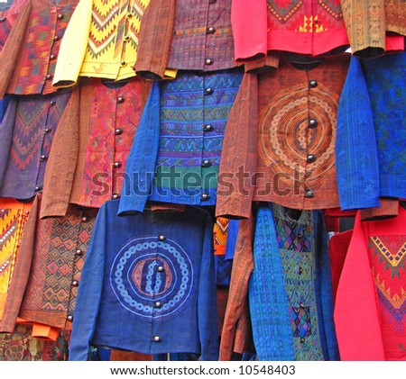 Colorful Textiles in Guatemala - stock photo