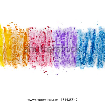 colorful texture pastel stick dust on white paper - stock photo