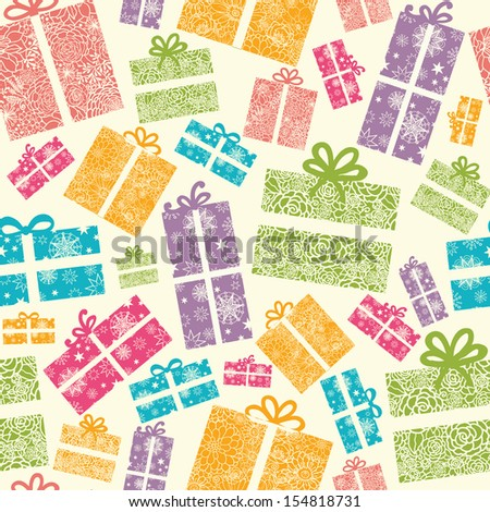Colorful Textured Gift Boxes Seamless Pattern Background raster - stock photo