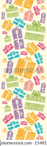 Colorful Textured Gift Boxes Vertical Seamless Pattern Border raster - stock photo