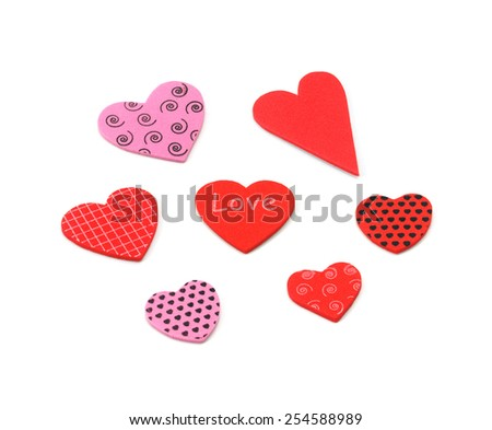 Colorful textured Valentines Day heart-shaped