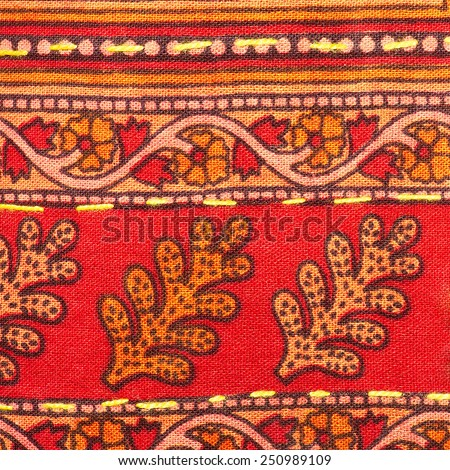 Colorful thai handcraft peruvian cutton style rug surface close up. More of this motif & more textiles peruvian stripe beautiful background tapestry persian detail pattern arabic fashionable textile. - stock photo