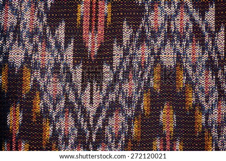 Colorful thai handcraft peruvian cutton style rug surface close up More of this motif & more textiles peruvian stripe beautiful background tapestry persian nomad detail pattern arabic fashionable. - stock photo