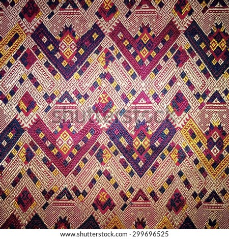 Colorful thai silk handcraft peruvian style rug surface close up More this motif & more textiles peruvian stripe beautiful background tapestry persian detail pattern farabic fashionable vignette - stock photo