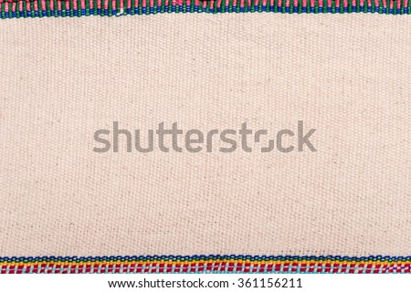 Colorful Thailand style rug surface, Close up fabric is made of hand-woven cotton fabric - stock photo