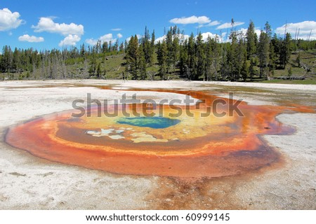 Colorful Thermal Spring and a Beautiful Blue Sky - stock photo