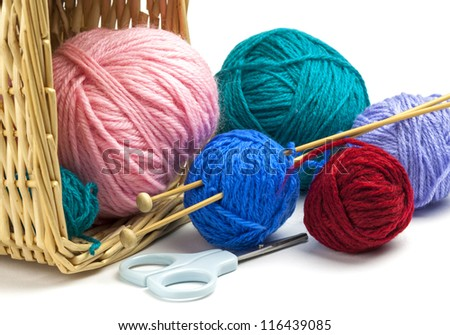 Colorful threads falling out of basket, knitting needle and scissors isolated  on white background - stock photo