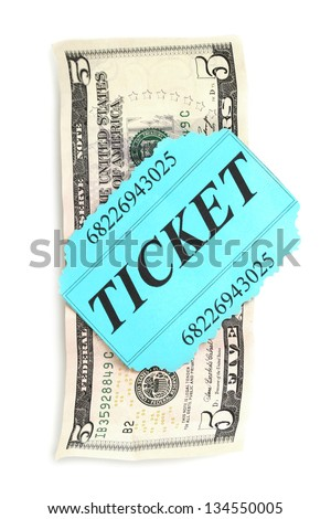 Colorful ticket with money isolated on white - stock photo