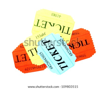 Colorful tickets isolated on white