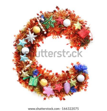 Colorful Tinsel Alphabet - stock photo