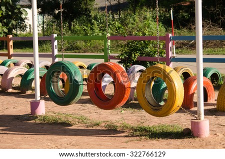 Colorful Tires Playground,children painted.
