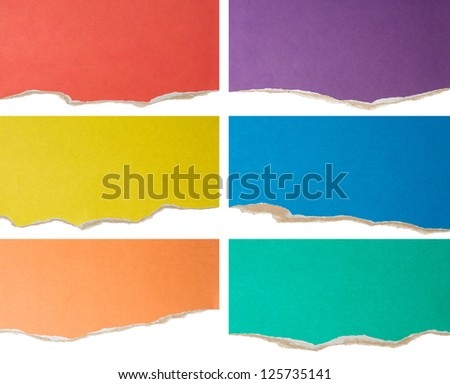 colorful torn cardboard collection - stock photo